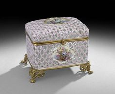 Continental Bronze and Porcelain Casket :