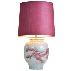 Chinese White and Pink Crackle Vase Mounted as Lamp | From a unique collection of antique and modern table lamps at https://www.1stdibs.com/furniture/lighting/table-lamps/