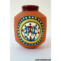 Terracotta Vase Brown Rajasthani with Warli Painting by Store Utsav (www.storeutsav.com)