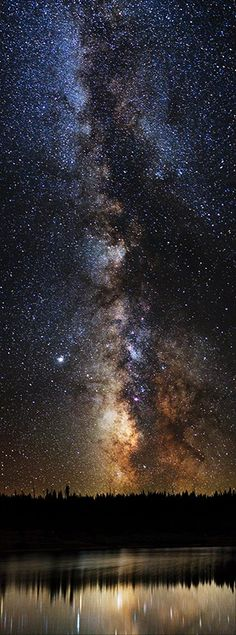 Milky Way Rising. A vertically stitched panorama photo of the Milky Way.