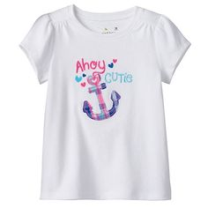 """Baby Girl Jumping Beans® """"Follow Your Heart"""" Plaid Applique Tee"""