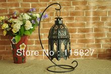 Wedding gift Europe style classical metal lantern Candle Holder with stand House or shop decoration Black clor(China (Mainland))