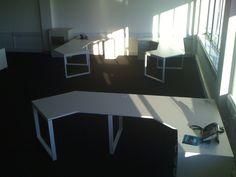 An unusual shape for an office desk