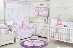 quarto bebê enxoval flores rosa lilás
