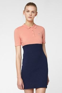Lacoste L!VE Half Sleeve Colorblock Pique Polo Dress : Dresses