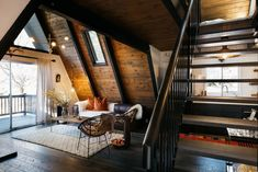 A Frame House Interior Design Intended For A Frame Cabin Transformed Into Light Filled Modern Getaway A Frame Cabin, A Frame House, Cabins In The Woods, House In The Woods, Bohemian Decoration, Contemporary Cabin, Casa Patio, Getaway Cabins, Cabin Interiors