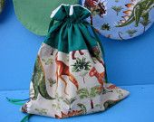 Dinosaur fabric drawstring gift bag by picolekids on etsy