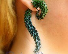 La cola de la oreja del falso dragón calibre - pendientes imitación calibrador / enchufe / fake piercing