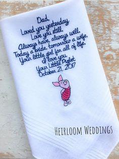 Dad Bride Handkerchief Disney Mickey Monogrammed FATHER heirloom handkerchief custom embroidered personalized hankie gift embroidery