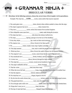 Irregular Verbs Worksheets for Grade Nouns And Verbs Worksheets, Printable English Worksheets, 6th Grade Worksheets, Punctuation Worksheets, Language Arts Worksheets, English Grammar Worksheets, Grammar Activities, School Worksheets, Writing Worksheets