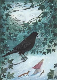 Winter Guardians by karendavis on Etsy, ~ This snowy morning that black crow I hate so much. but he's beautiful! Art And Illustration, Illustrations, Fantasy Kunst, Fantasy Art, Art Manga, Crows Ravens, Winter Art, Winter Moon, Rodin