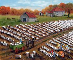 Landscape-American-Picking-Cotton-NC-Folk-Art-Print-Arie-Taylor-Piedmont-Wagon