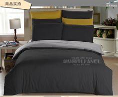 床上用品简约四件套纯色深灰床单被套被罩学生三件套双拼被单男女-淘宝网