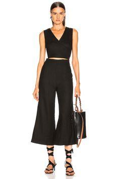 43e49c97774 Enza Costa Linen Wrap Front Jumpsuit in Black