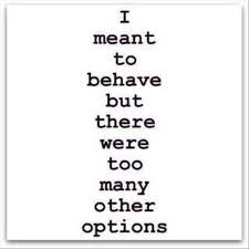 and life would be SO boring if I behaved.  Then my husband and friends would have nothing to laugh about.