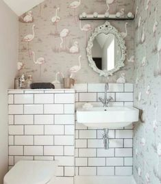 Fun bathroom decor with flamingoes on the wall.