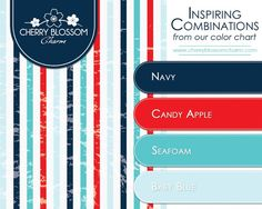 A more modern and summery combination of patriotic colors - navy, red, aqua and baby blue
