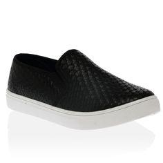 Cori Black Weave PU Slip On Flat