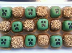 Minecraft cake balls.  Creepers and dirt blocks.