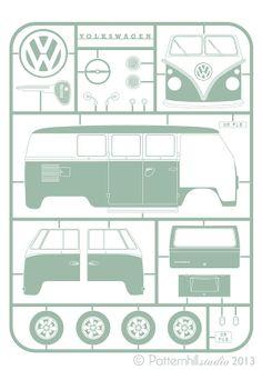 VW Split Screen Camper 'Kit Print'