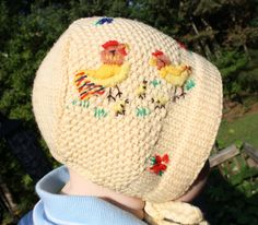 Here Chick Chick  Adorable Vintage Hand Made Wool Knit Hat Baby Bonnet Hand  Embroidered Chickens Hen Rooster Hat. via Etsy.