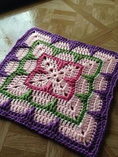 "Larksfoot Inspired 12"" Granny Square: free #crochet pattern by violet"