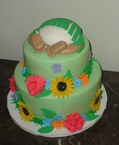 Hawaiian themed baby shower cake www.girlmeetscake.com