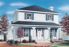 W4756 - Modèle de maison colonial américain, à étages, aire ouverte, cuisine…