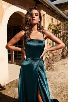 A&N Luxe Bianca Satin Gown W Slit - Teal The most beautiful and newest outfit ideas continue to foll Satin Gown, Satin Dresses, Ball Dresses, Elegant Dresses, Pretty Dresses, Sexy Dresses, Strapless Dress Formal, Beautiful Dresses, Ball Gowns