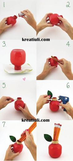 diy pencil holder, apple