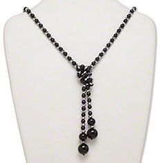 Necklace, glass pearl and nylon, black and silver, 16mm round, 40-inch adjustable lariat. Sold individually.