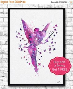ON SALE 20% OFF Tinkerbell Watercolor Print Girl's by ArtsPrint