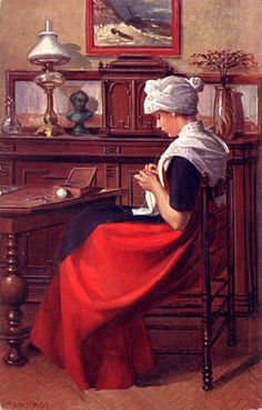 """Knitting Woman, Berlin"" - Jules Breton (1887)"