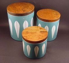 VERY RARE CATHRINEHOLM LOTUS WARE COVERED CANISTERS - SET OF THREE... BIN 350.