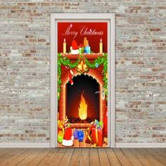 Merry Christmas Fireplace Pattern Door Art Stickers - COLORFUL Cheap Doors, Gadgets, Christmas Fireplace, Door Stickers, Merry Christmas, Lettering, Colorful, Projects, Pattern