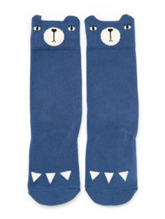 Bear Knee Socks - Blue