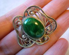 Russian art nouveaux | ... malachite ring hand made in Russian filigree and Art Nouveau style