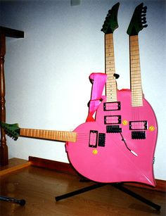Steve Vai's triple-neck heart guitar from the David Lee Roth days