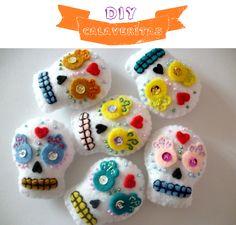 DIY calaveritas de fieltro / DIY felt skulls / Día de Muertos