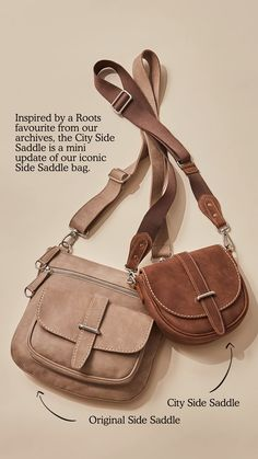 Inspired by a Roots favourite, our City Side Saddle is a mini update of our iconic Side Saddle bag that's perfect for your everyday adventures. Designed and handcrafted in Canada, this hands-free crossbody is functional yet stylish and features a zippered main compartment, front flap pocket with a strap closure and multiple pockets to keep your essentials at hand. This bag is fully lined with our signature Salt & Pepper lining.