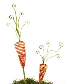 Orange Springy Carrot Garden Stake Set by The Round Top Collection