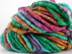 Sale Handspun Coiled Art Yarn Thick and Thin CARIBBEAN REFLECTIONS