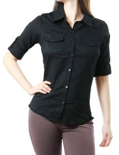 Fitted Long-Sleeve Button-Up Blouse | amazon.com