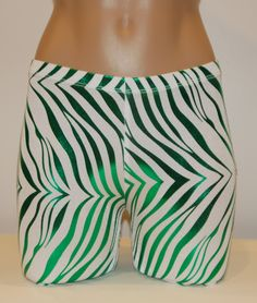 Green and White Zebra Print Metallic :: Shorts/Spankies :: Spandex Compression Shorts and Athletic Wear for Volleyball, Soccer, Field Hockey, Lacrosse, Running and all sports from #bskinz