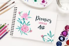 Peonies watercolor illustration set by Pykhtik on @creativemarket