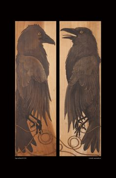 """CAW-Some! They look like the old Japanese Panels. """"Huginn and Muninn Dyptich"""" by WanderingMuseDesigns Viking Raven, American Crow, Quoth The Raven, Norse Runes, Raven Art, Raven Tattoo, Crows Ravens, Rabe, Owl Bird"""