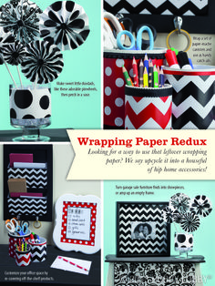 Upcycle your leftover wrapping paper into fun home accessories!