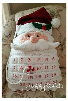 Santa Countdown Pillow by JoAnne Grimm Thompson A fun & unique countdown pillow the whole family can enjoy.This is a for a PDF file, not a finished item. A fun & unique countdown pillow the whole family can enjoy. He will make you smile just looking Crochet Christmas Decorations, Christmas Crochet Patterns, Holiday Crochet, Christmas Knitting, Christmas Crafts, Christmas Pillow, Santa Christmas, Crochet Santa, Crochet Gifts