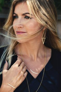 Find layerable rings, necklaces, earrings, and bracelets to compliment all outfits and occasions at gorjana. Your number one source of classic and versatile jewelry. Dainty Gold Jewelry, Arrow Necklace, Fashion Beauty, Autumn Fashion, Jewelry Design, Bangles, Style Inspiration, Jewels, My Style