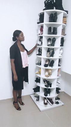 Shoe rack rotates 9 stories - My Website 2020 Closet Shoe Storage, Diy Shoe Rack, Shoe Closet, Wall Shoe Rack, Shoe Racks, Wardrobe Design Bedroom, Closet Bedroom, Space Saving Furniture, Home Decor Furniture